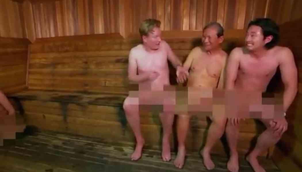 Conan O'Brien and Steven Yeun get naked at a Korean spa